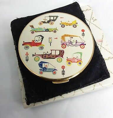 Vintage 1960s Stratton rondette loose powder compact box pouch sifter cars