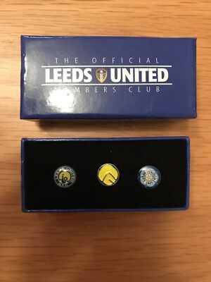 Official Leeds United Members Club – 3 x Pin Badges – Presentation Box ***New***