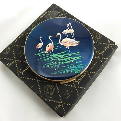 Vintage 1960s Stratton rondette loose powder compact box pouch sifter flamingos