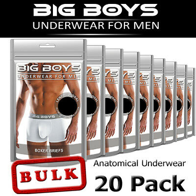 Big Boys - Men's Anatomical Underwear - Boxer Briefs - Bulk Pack of 20