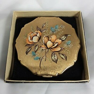 Vintage 1960s Stratton Queen convertible powder compact box pouch sifter roses