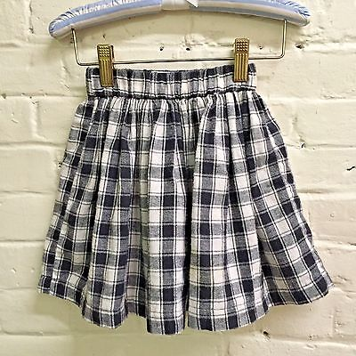 Vtg girl 4 5 flannel black white PLAID elastic waist skirt Color Club EUC