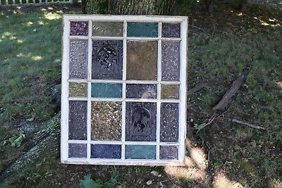 Antique Stained & Pressed Glass Wood Frame Window 20 panels 30 x 36 in.