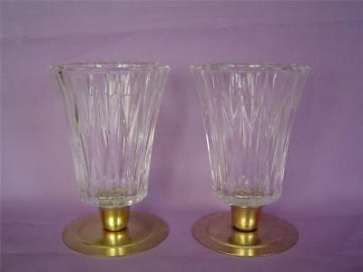 "Set 2 KIMBERLY Tall Thick Ribbed Glass 5"" Peg Votive Cup Candle Sconce Holders"