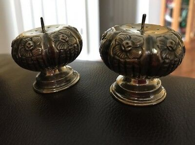 Vintage Hecho Pumpkin 925 Sterling Silver Salt & Pepper Shakers Hecho en Mexico