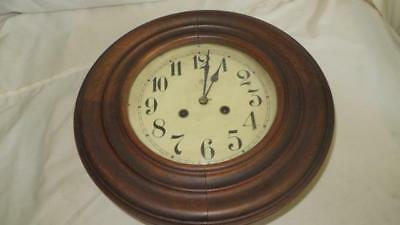 Antique Old German Made Junghans Big Round Wooden Wall Clock. for restoration