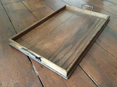 Antique Vintage Tray large wooden Serving tray with brass handles