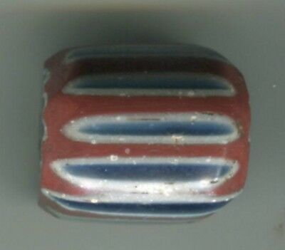 African Trade bead antique Venetian glass 7 layer blue chevron 400-500 years old