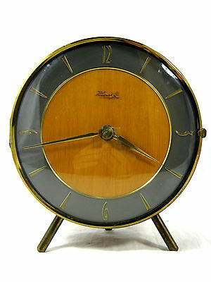 Beautiful 50´s  design mechanical  Kienzle table clock / Tisch Uhr / working