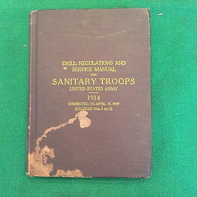 1914 US Army Drill, Regulations, & Service Book For Sanitary Troops