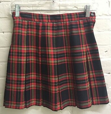 Vtg 10 M plaid skirt Brown Orange Amy Byer Flat pleated