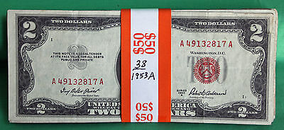 38 Two Dollars 1953 A Series Lot Average Circulated $2 Currency Paper Money