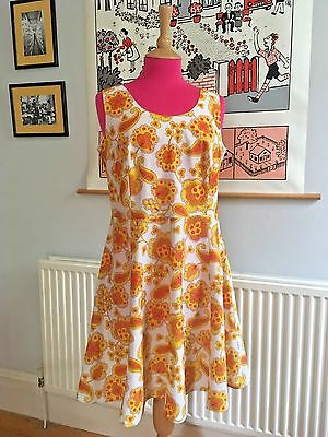 Vintage 60s 70s Orange and Yellow Psychedelic Flower Power Mini Dress, M/L