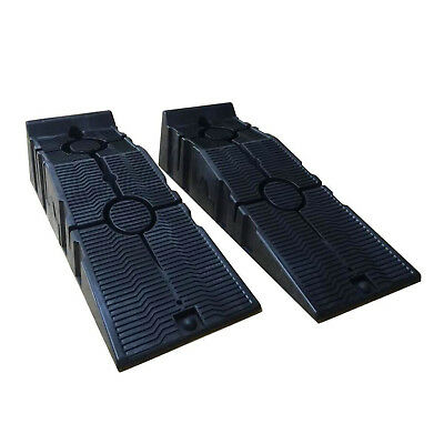 Pair of Heavy Duty Plastic Garage Car Service Safety Ramps Workshop Equipment