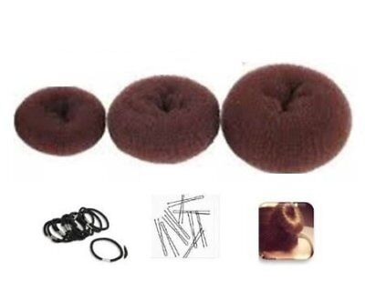 "Set of 3 Crowns for Hair Bun ""Donut"" Brown - 1 small (6cm diameter) + 1 medium"