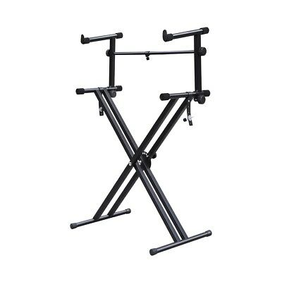 Quality Heavy-Duty X Style Dual Keyboard Stand Electronic Piano Double 2-tier SS