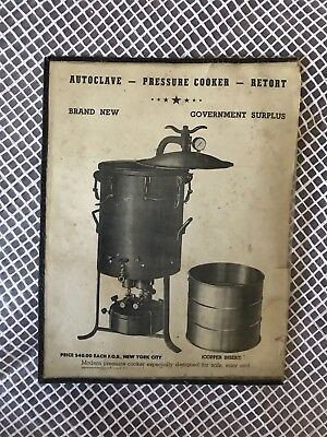 Autoclave Pressure Cooker Retort Government Surplus 1942 Ad Or Flyer