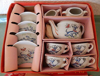 Huckleberry Hound China Tea Set in Box Hand Decorated Japan 13 piece