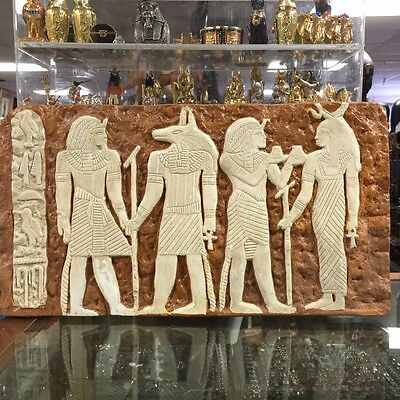 Vintage Egyptian Gods Wall Relief/Plaque Hand Carved Natural sand Stone 1952