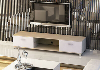 30inch-70inch Slim low tv stand cabinet white oak wooden 2 drawers LED light