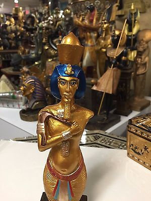 Vintage  Egyptian Statue Akhenaten Hand Carved 1989  Made in Egypt
