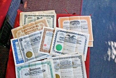Thirty Vintage Stock Certificates Including Juneau Alaska Mining JP Morgan Signa