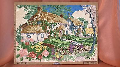 DMC COMPLETED TAPESTRY ~ COTTAGES c 2000 34 x 38cms