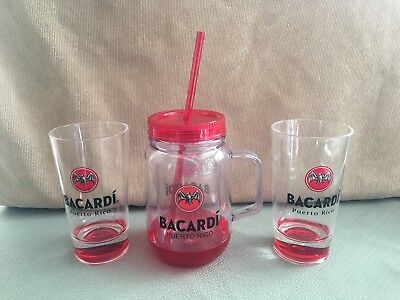 Pre-owned Bacardi Rum Distillery Cups and mug with straw from Puerto Rico
