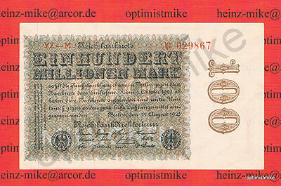1 x 100 Millionen Mark aUNC Ros.106 p Pick 107 d Germany Inflation