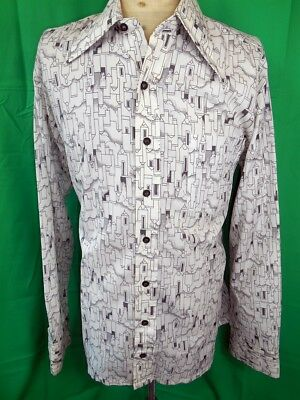 Amazing Vintage 1970s Patterned Polyester Continental Disco Party Shirt M Groovy