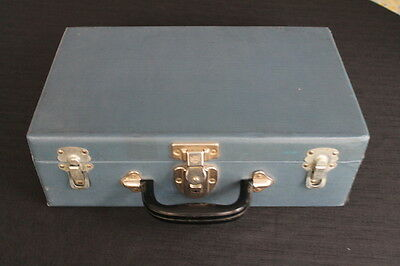 vintage navy cardboard doll suitcase case toy case plastic handle