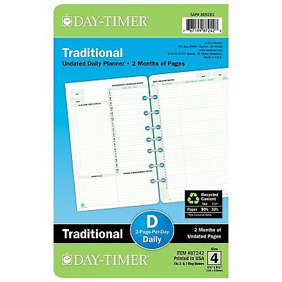 Day-Timer Two Page Per Day Refill 2 Months Undated Loose-Leaf Desk Size 5.5 x...