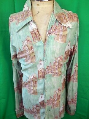 Vintage 1970s Speak Easy California Rayon Acetate Disco Party Shirt Groovy XL