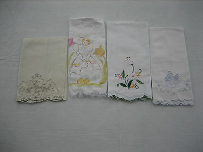 4 Vintage Different Guest Hand Towels - Embroidered, Transfer, Butterfly