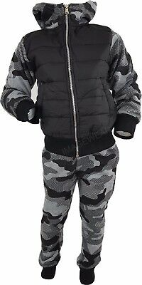 Kids Quilted Camo Tracksuit Army Military Jogging Running Suit 2pc Set 3-11 Y