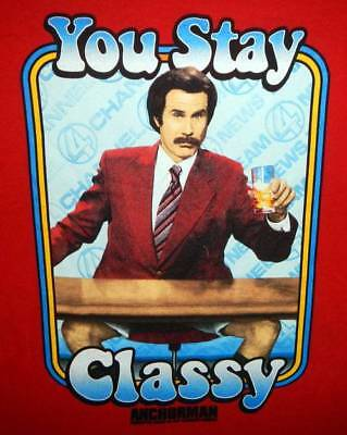 """Anchorman Ron Burghandy """"you Stay Classy"""" Red Tshirt Extra Large Nwot"""