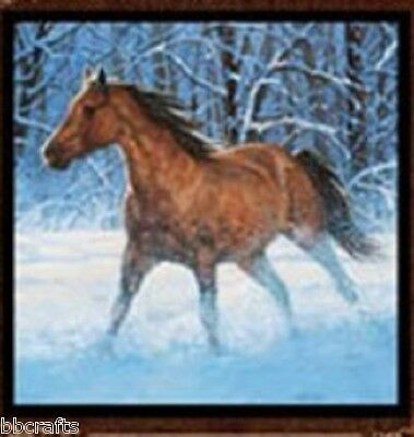 New Beautiful Brown & Black Horse Running In Snow Complete 15X15 Throw Pillow -L