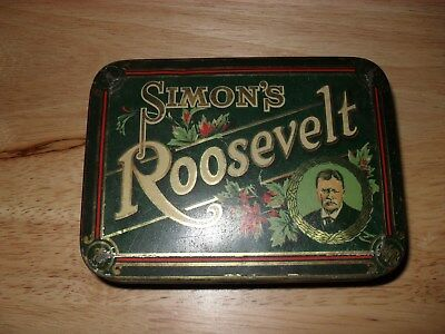 Vintage Simon's Roosevelt Tobacco Tin Made In Montreal Qu.