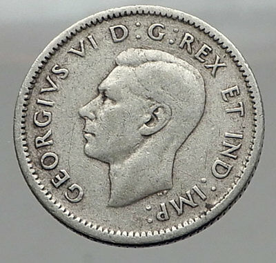 1945 CANADA King George VI - Silver 10 Cent SILVER Coin - BLUENOSE SHIP i63040
