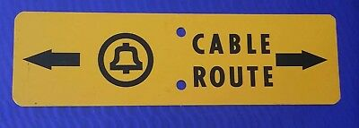 ~Vintage Bell System Telephone Cable Route Metal Sign~ Man Cave~ Unique~