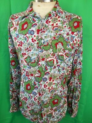Vintage 1980s 90s Floral Patterned Viscose Brummel Italian Made Party Shirt 16 L