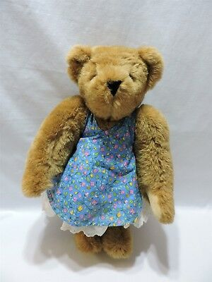 """Vermont Teddy Bear Brown Jointed Plush Lace Dress Blue Floral 15"""" Stuffed Animal"""