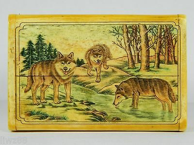 Fine Handmad Bone Business Card Box Case,Artist Elaborately Hand Carved Wolf Pic