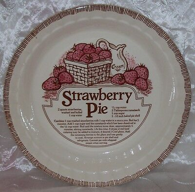 Vtg Royal China Jeannette-Deep Dish STRAWBERRY Pie Plate/ Baker w/ Recipe EVUC