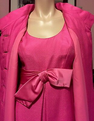 TRULY RARE Vintage PAB ICONIC Hot Pink GOWN & FULL LENGTH EVENING OPERA COAT S