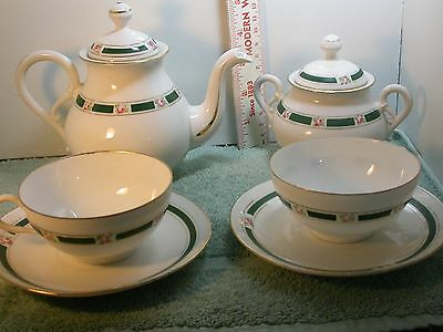 Vintage Ginore Tea Set 7363 Pot, sugar and 2 cups and saucers Italy Itanian