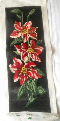 Vintage Completed Except Black Background Tapestry Red Pink Lilies
