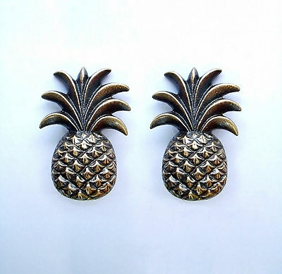 Set of 2 pcs Vintage PINEAPPLE Fruit Cabinet Brass KNOB Drawer Handle Pulls