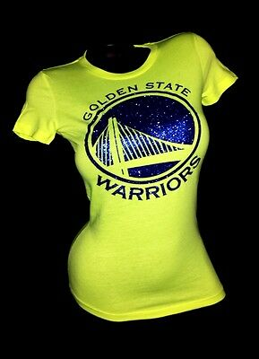 Golden State Warriors Sexy Neon Yellow Jersey Tee ~Shiny Lettering! Up to 2XL
