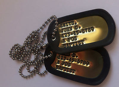 Real Debossed Brass Military Dog Tags Dogtags Made Just For U